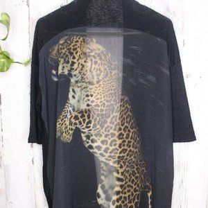 Black Bead long Tail Cheetah Cardigan large